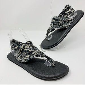 SANUK Yoga Mat Sling Sandals Black Women's Size 9